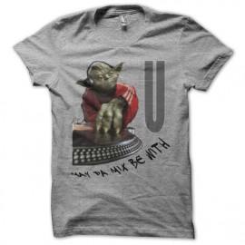 Tee shirt  Star Wars parodie DJ Yoda gris