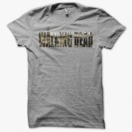 Camiseta The Walking Dead título zombie gris