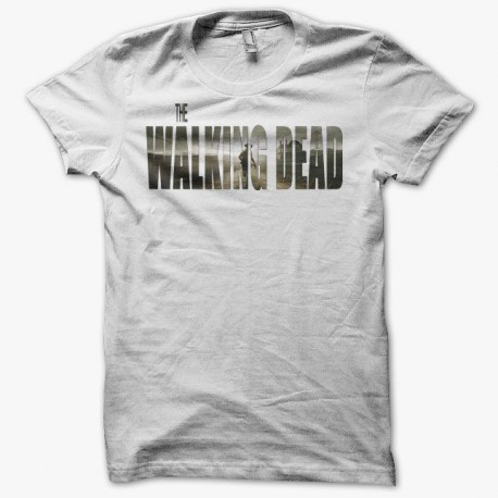 Tee shirt The Walking Dead titre campagne blanc