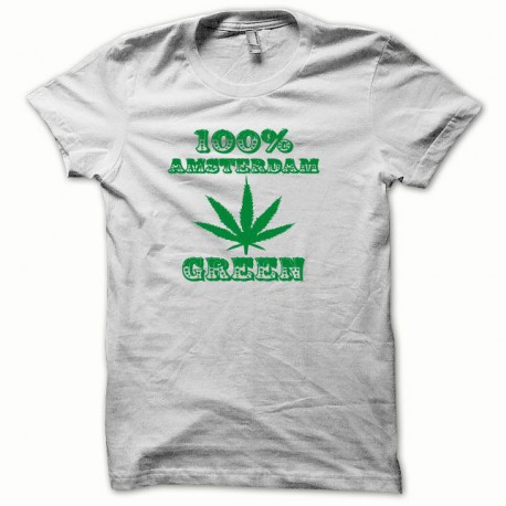 Tee shirt Marijuana Hemp Amsterdam vert/blanc