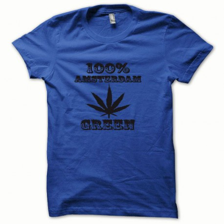 Tee shirt Marijuana Hemp Amsterdam noir/bleu royal