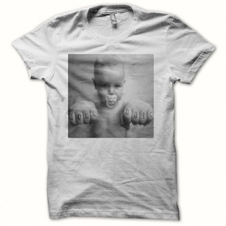 Tee shirt baby punk love & hate blanc