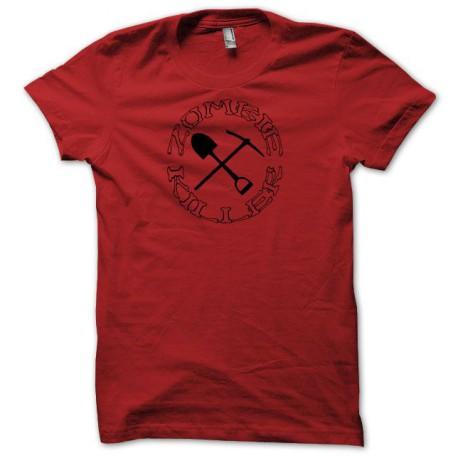 Tee shirt zombie killer pelle pioche noir/rouge
