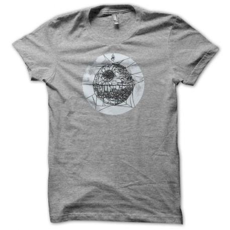 Tee shirt  Star Wars parodie étoile araignée de la mort gris