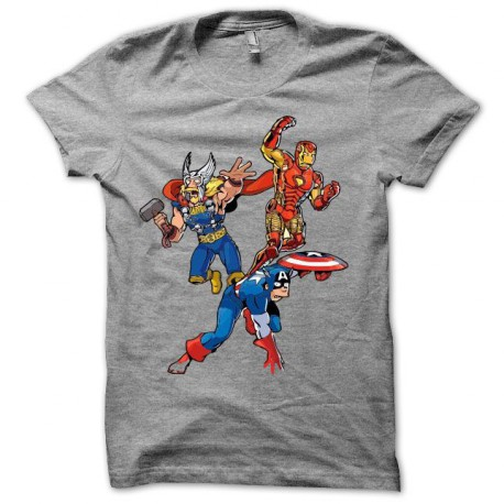 Tee shirt  simpson parodie avengers gris