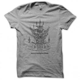 Tee shirt thai boxing Muay Thai sak yan hanuman couleur  gris