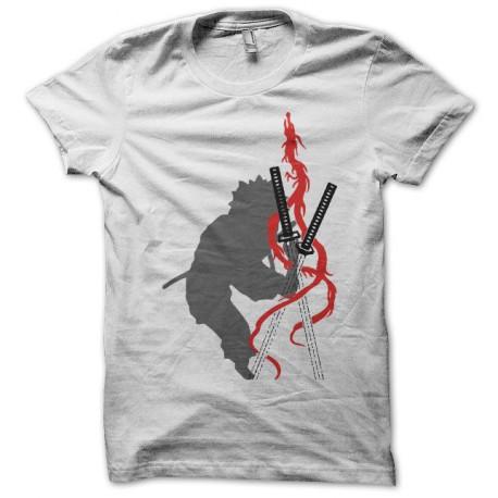 Tee shirt Gamaran dragon katana 我間乱 blanc