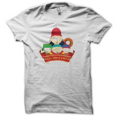Tee shirt south park kyle's mom is a bitch blanc