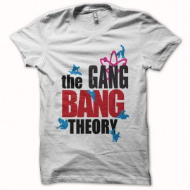 camiseta gang bang theory parodia The Big Bang Theory blanco