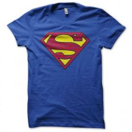 Tee shirt mytique Superman vintage avec effet vieux  bleu
