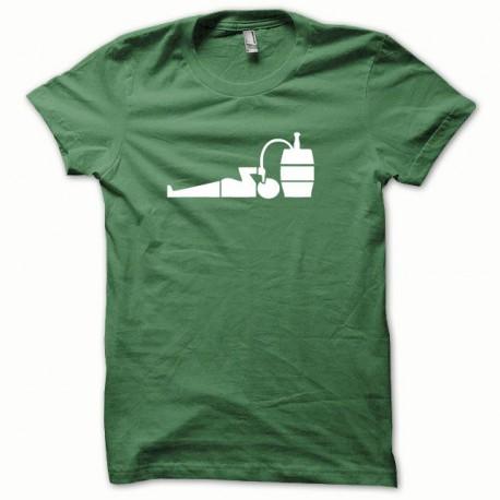 Tee shirt Tonneau de biere blanc/vert bouteille