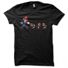 T-shirt Mario bros evolution parody nintendo black