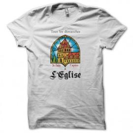 Tee shirt humour Leffe parodie église blanc