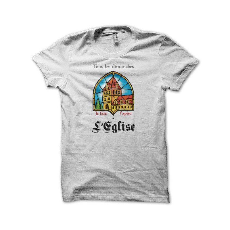 T Shirt Funny Leffe Parody église White