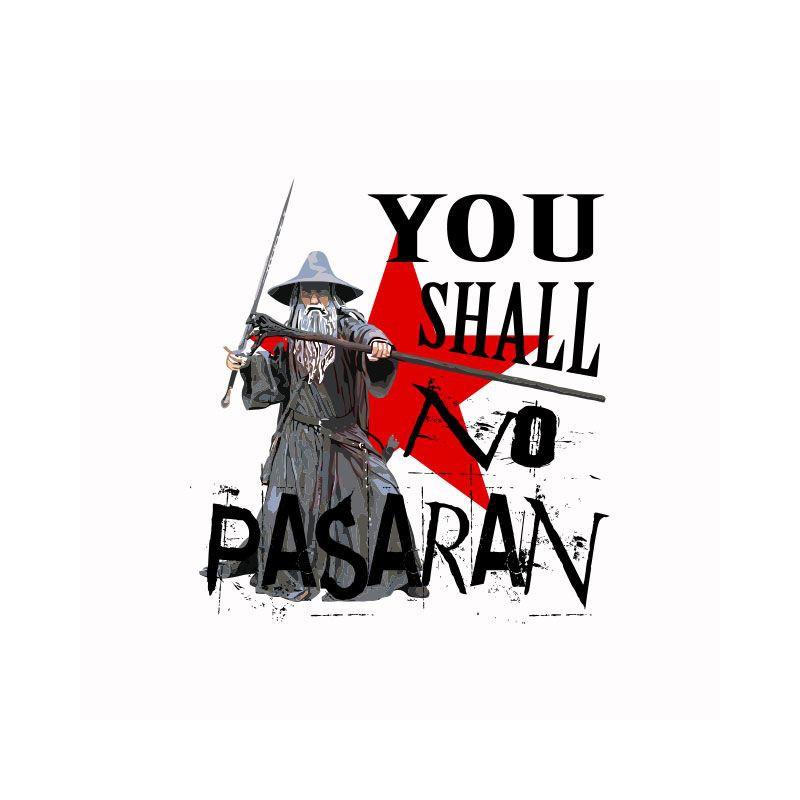 t shirt gandalf parody no pasaran white