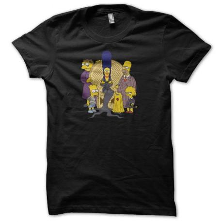 Tee shirt La famille Addams Simpsons noir
