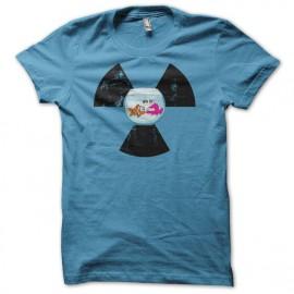 Tee shirt écologie Bocal Poisson Nucléaire WTF bleu