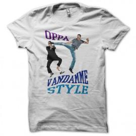 Camiseta OPPA Van Damme Style parodia gangnam blanco
