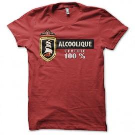 Tee shirt humour Amsterdam Navigator parodie Alcoolique certifié 100% rouge