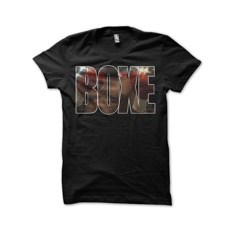 T shirt boxe gloves ring text black for Photo t shirts with text