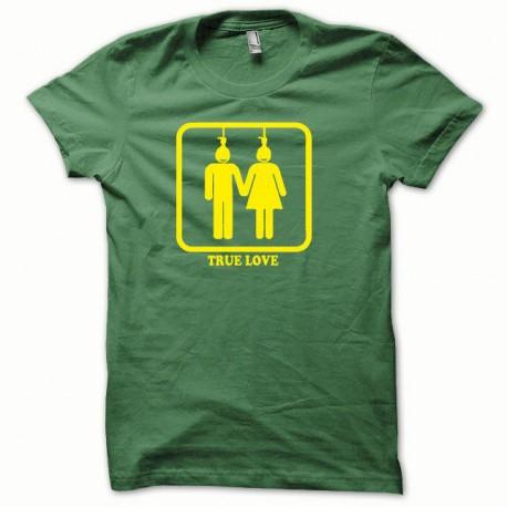 Tee shirt True Love jaune/vert bouteille