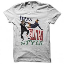 Camiseta OPPA Zlatan Style parodia gangnam blanco