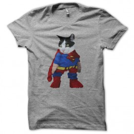 Tee shirt Supercat parodie Superman  gris