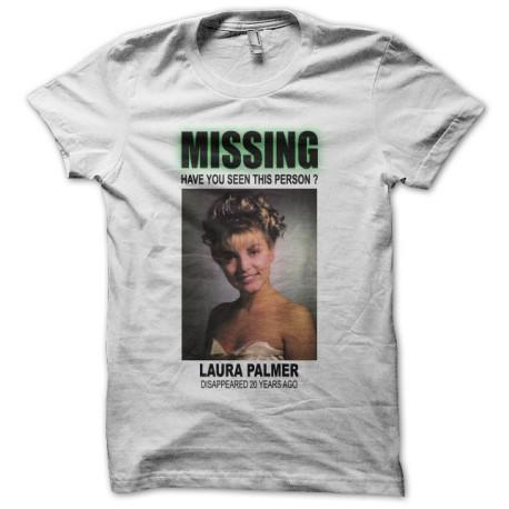 Tee shirt Twin Peaks missing Laura Palmer blanc