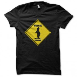 T-shirt Warning Pregnant & Hormonal road sign black