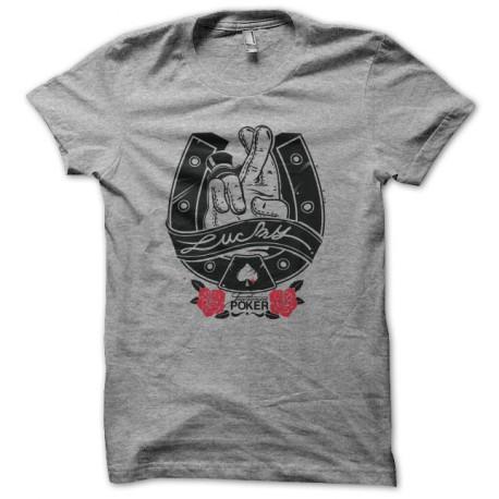 Poker T-shirt Lucky Horseshoe White