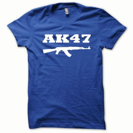 Tee shirt AK-47 kalachnikov blanc/bleu royal