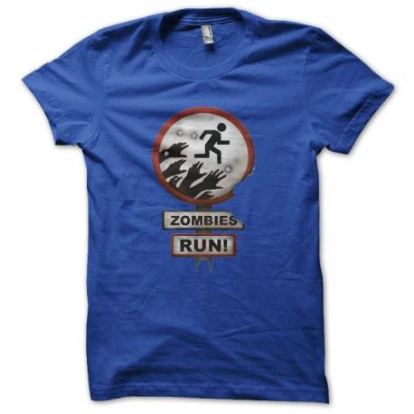 Tee shirt zombies run bleu