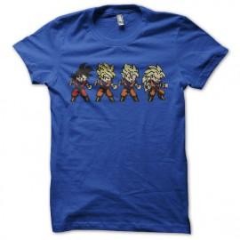 Tee shirt Son Goku evolution pixel art bleu