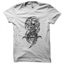 Tee shirt Tatouage de démons en  blanc