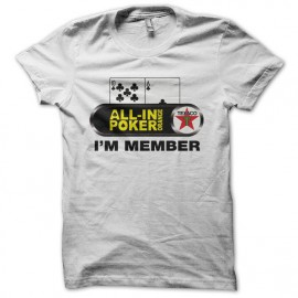 Tee shirt All-in Poker Orange I'm Member blanc