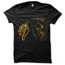 Black tee shirt Poker skull