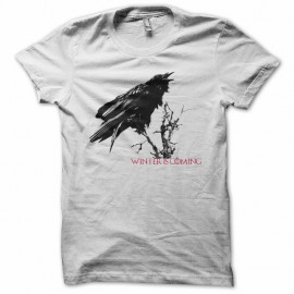 Tee shirt winter is coming corbeau Game of Thrones blanc