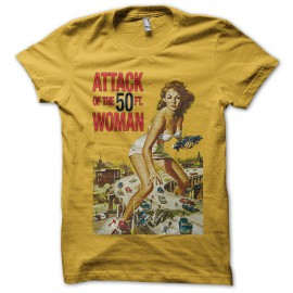tee shirt Attack of the 50 ft. woman jaune