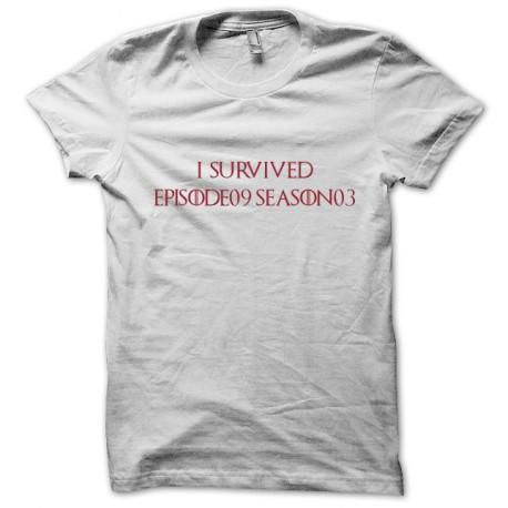Tee shirt le trone de fer episode 9 saison 3 I survived games of thrones blanc