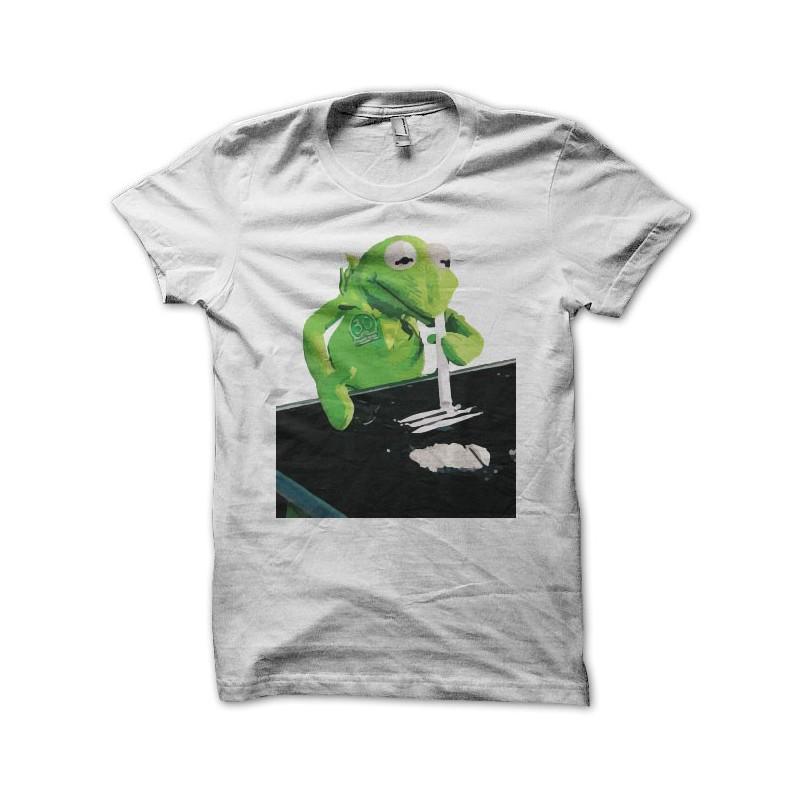 c1d48214 T-shirt Kermit plays cocaine white