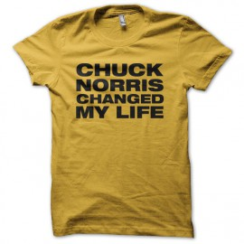 Tee shirt Chuck Norris changed my life jaune