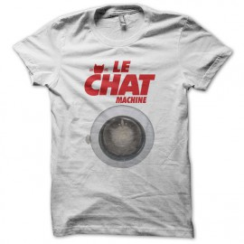 Tee shirt Les Nuls Le chat machine blanc