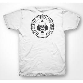 Rock N 'Roll Club de la lucha callejera - camiseta del as de picas cráneo del póker / as de póquer picos grúa blanco / blanco