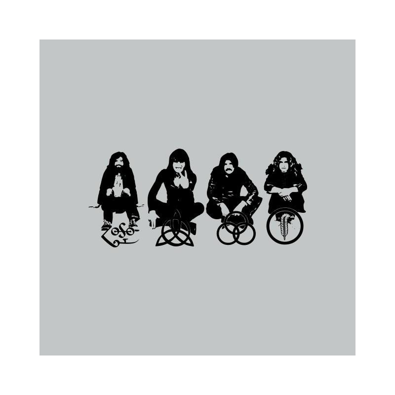 T Shirt Led Zeppelin Band Symbols Gray