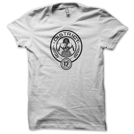 Tee Shirts Percha Juegos Distrito 12 distintivo blanco