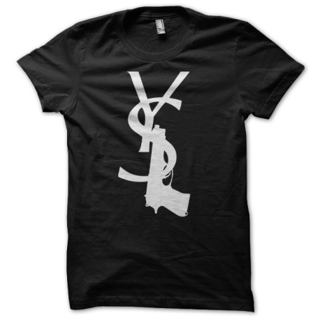 Tee shirt yves saint laurent flingue noir for Ysl logo tee shirt