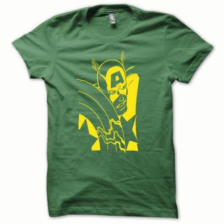 Tee shirt Capt America jaune/vert bouteille