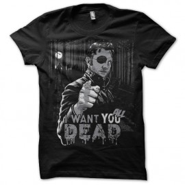 Tee shirt Walking Dead Gouverneur I want you all dead noir
