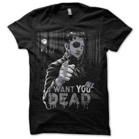 Tee shirt Walking Dead Gouverneur I want you all dead noir