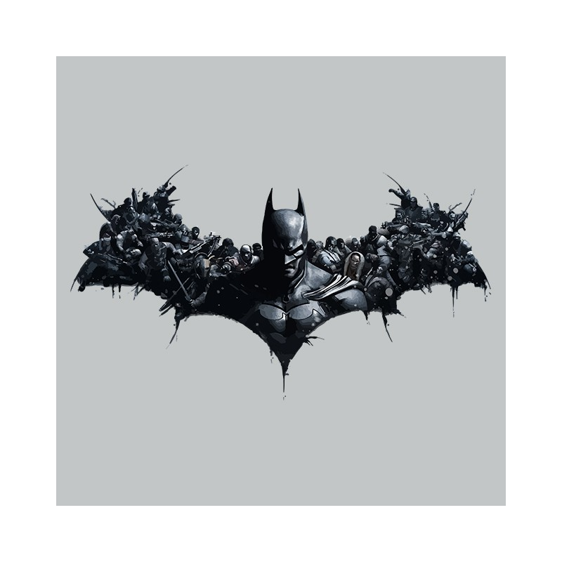 T Shirt Batman Arkham Origins Symbol Gray